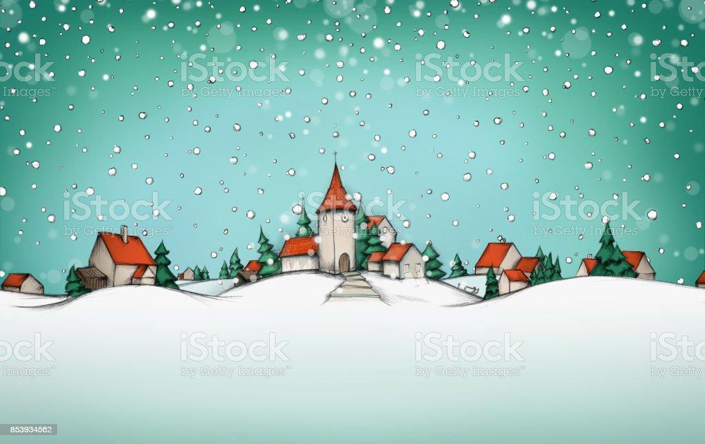 Eine Winterlandschaft mit Dorf und Schnee im Hintergrund – Vektorgrafik