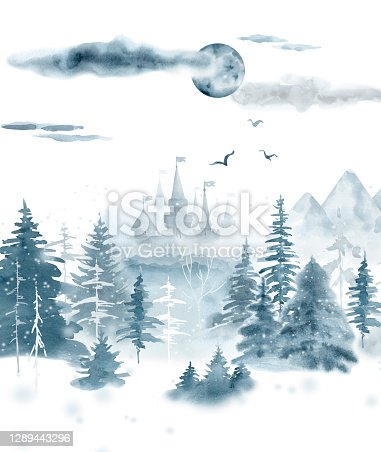 istock Winter landscape,mistical forest. 1289443296