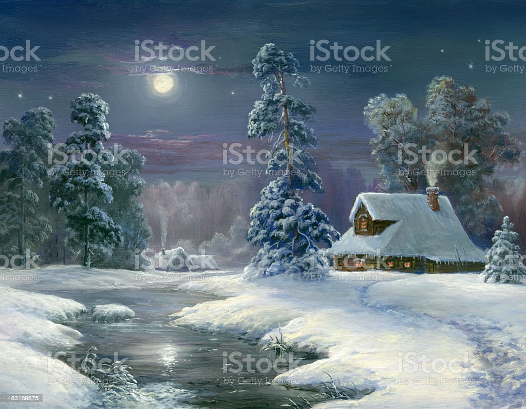 Winter Night In Country vector art illustration