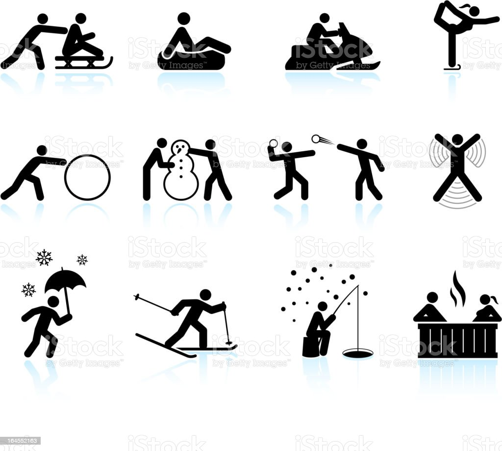 Winter outdoor activities black & white vector icon set royalty-free winter outdoor activities black white vector icon set stock vector art & more images of back country skiing