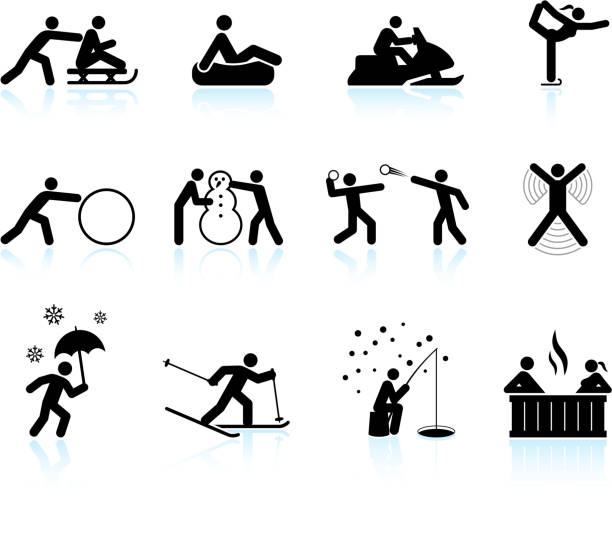winter outdoor activities black white vector icon set vector art illustration