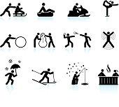 Winter outdoor activities black & white vector icon set