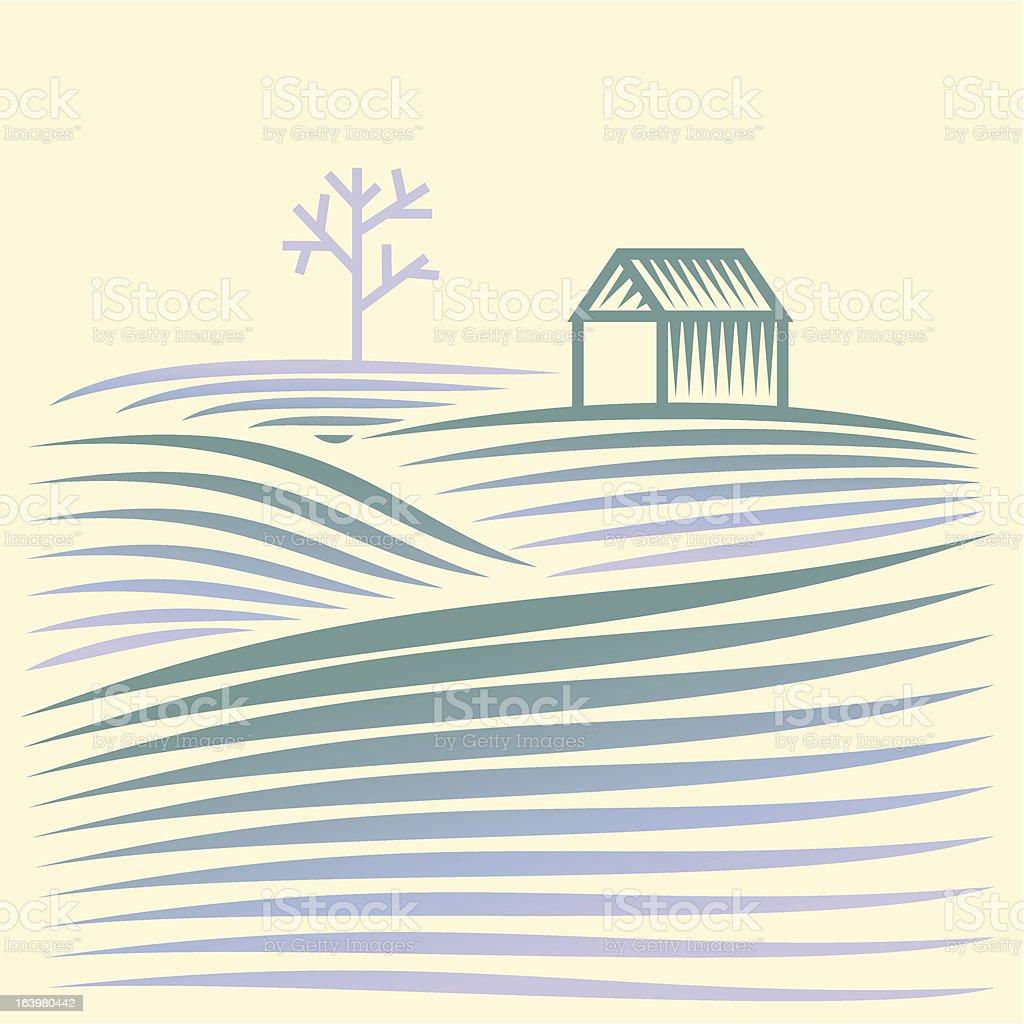 winter ländliche Landschaft mit Feldern und house – Vektorgrafik
