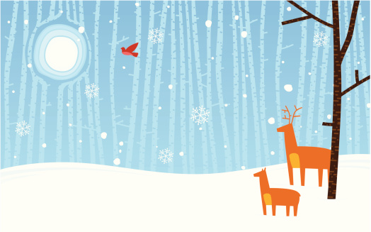 Winter scene background with copy space.