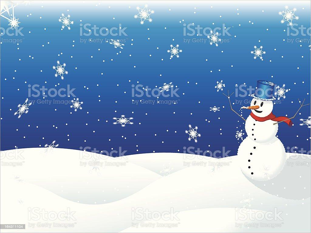 Winter season, Snowman vector art illustration