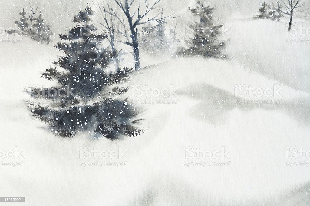 Winter Snow Scene Background vector art illustration