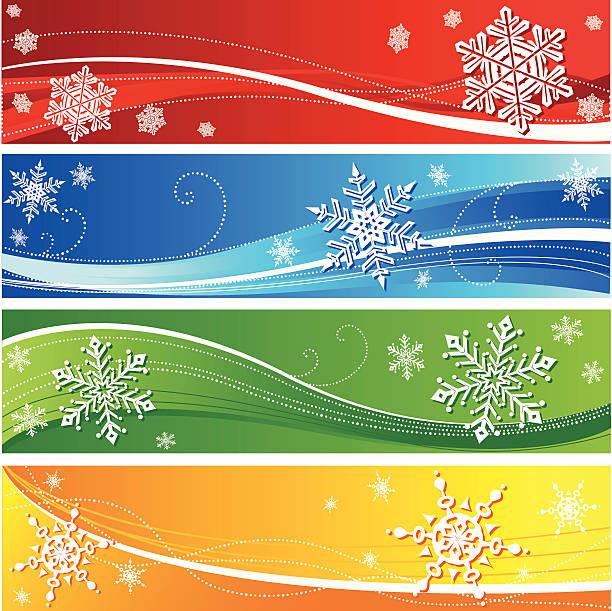 Winter snowflake banners vector art illustration