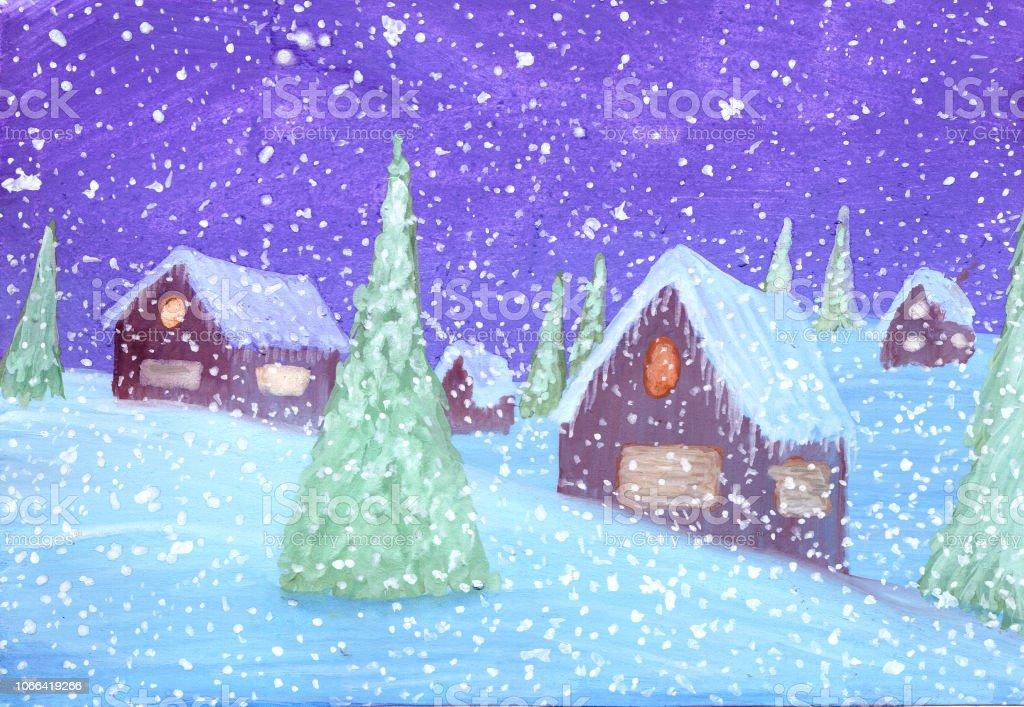 Winter Verschneite Häuser Und Tannen In Gouache Stock Vektor Art Und
