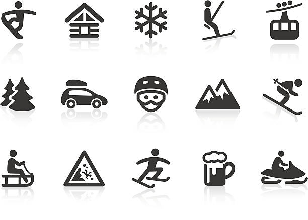 winter sport icons - log cabin stock illustrations, clip art, cartoons, & icons