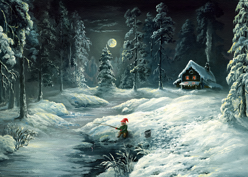 winter tale, oil painting in retro style