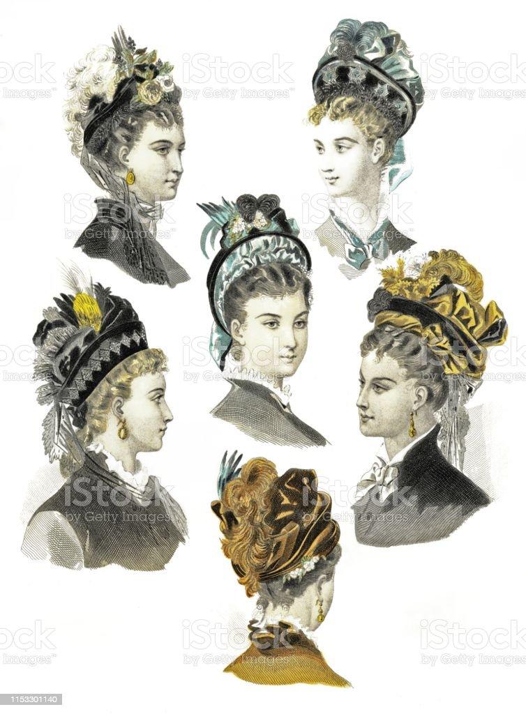 87f7e290c2 Vetores de Chapéus De Veludo Do Inverno Por Elegante Fashion 1874 e ...