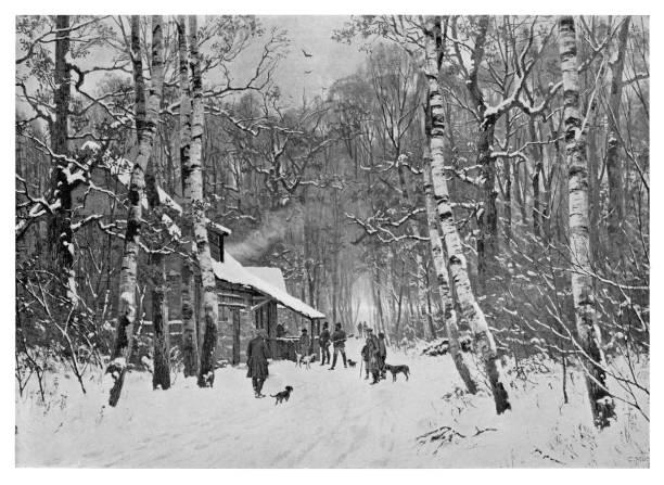 bildbanksillustrationer, clip art samt tecknat material och ikoner med vintervandring - hund skog
