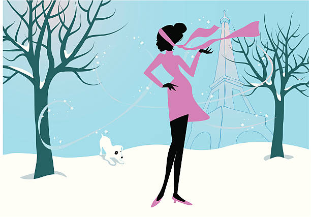 winter gehen - hundehaarbögen stock-grafiken, -clipart, -cartoons und -symbole