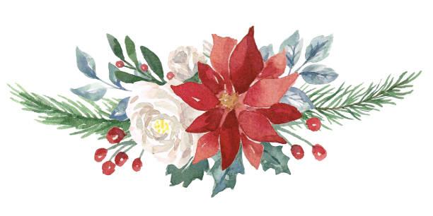stockillustraties, clipart, cartoons en iconen met winter aquarel boeket - kerstster