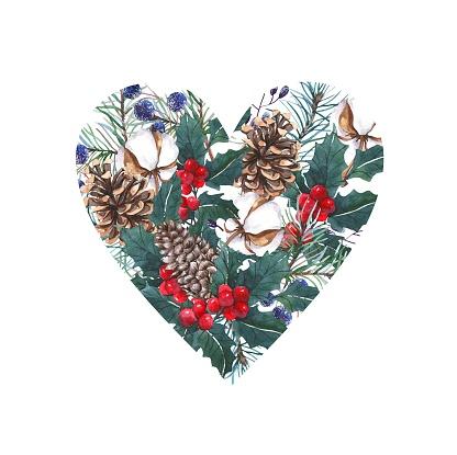 Winter watercolor design. Christmas watercolor wreath of cones, Christmas tree branches, cotton. Watercolor wedding frame.