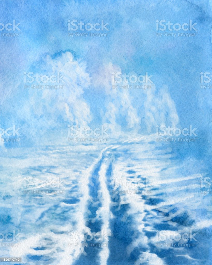 winter watercolor vector art illustration