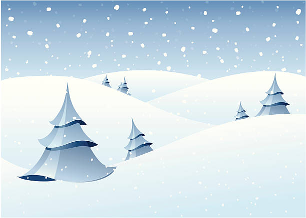 Winter woodland scenery vector art illustration
