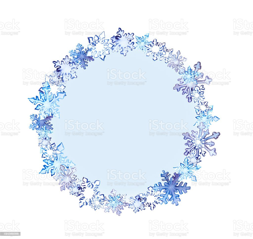 Winter Wreath With Snowflakes Watercolor Round Frame stock vector art 494569388 | iStock
