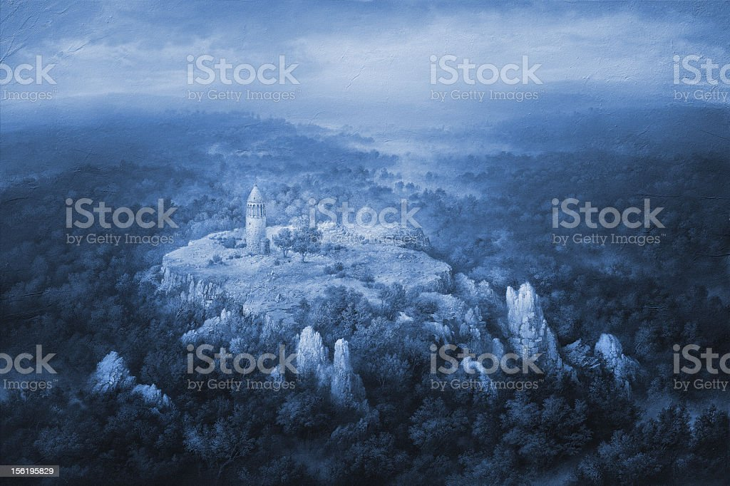 Wintery Forest With A Solitary Tower In The Middle vector art illustration