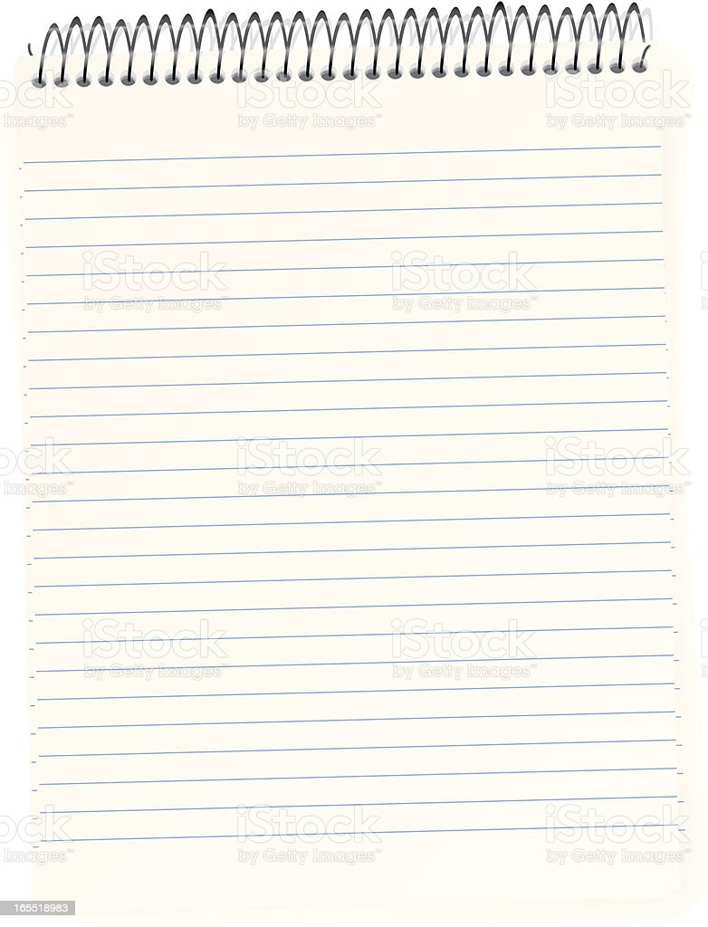 Wire Bound Writing Pad royalty-free stock vector art