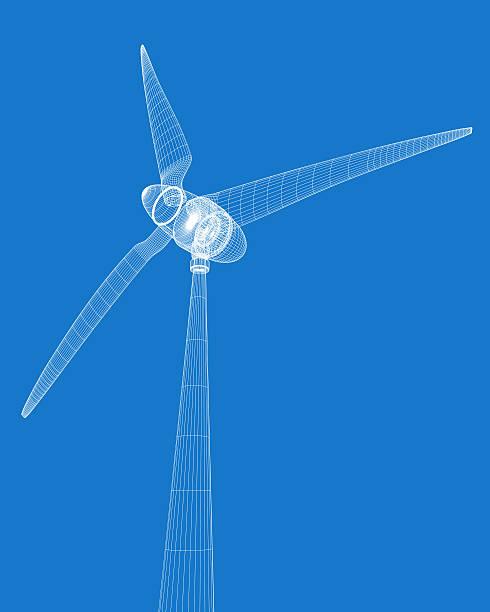 Wireframe rendered wind turbine vector art illustration