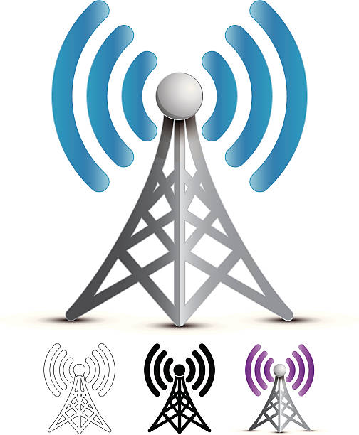 """Wireless Broadcast """"Vector Illustration of a communication/wireless signal tower. Includes silhouette, lineart, and alternative color versions. Contains transparencies and is saved as EPS10 Format."""" repeater tower stock illustrations"""