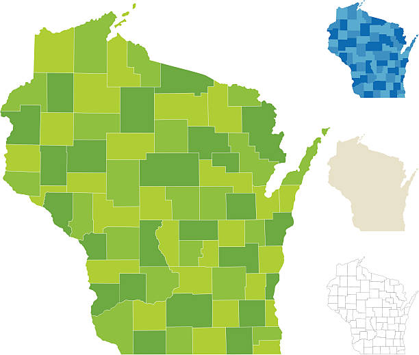"""Wisconsin County Map """"Highly-detailed Wisconsin county map. Each county is in it's own separate labeled layer. All layers have been alphabetized for easy manipulation, recoloring or other use. (see image below -- note: labels only available in AICS2 and AI10 files)"""" wisconsin stock illustrations"""