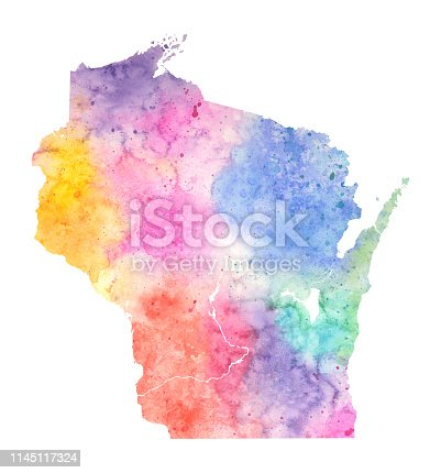 Wisconsin Watercolor Raster Map Illustration in Pastel Colors