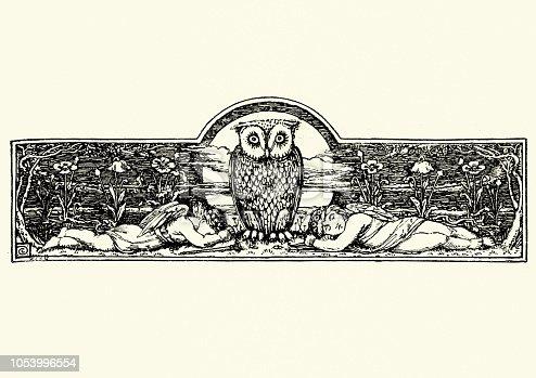 Vintage engraving of Wise Owl watching over sleeping angels, 19th Century