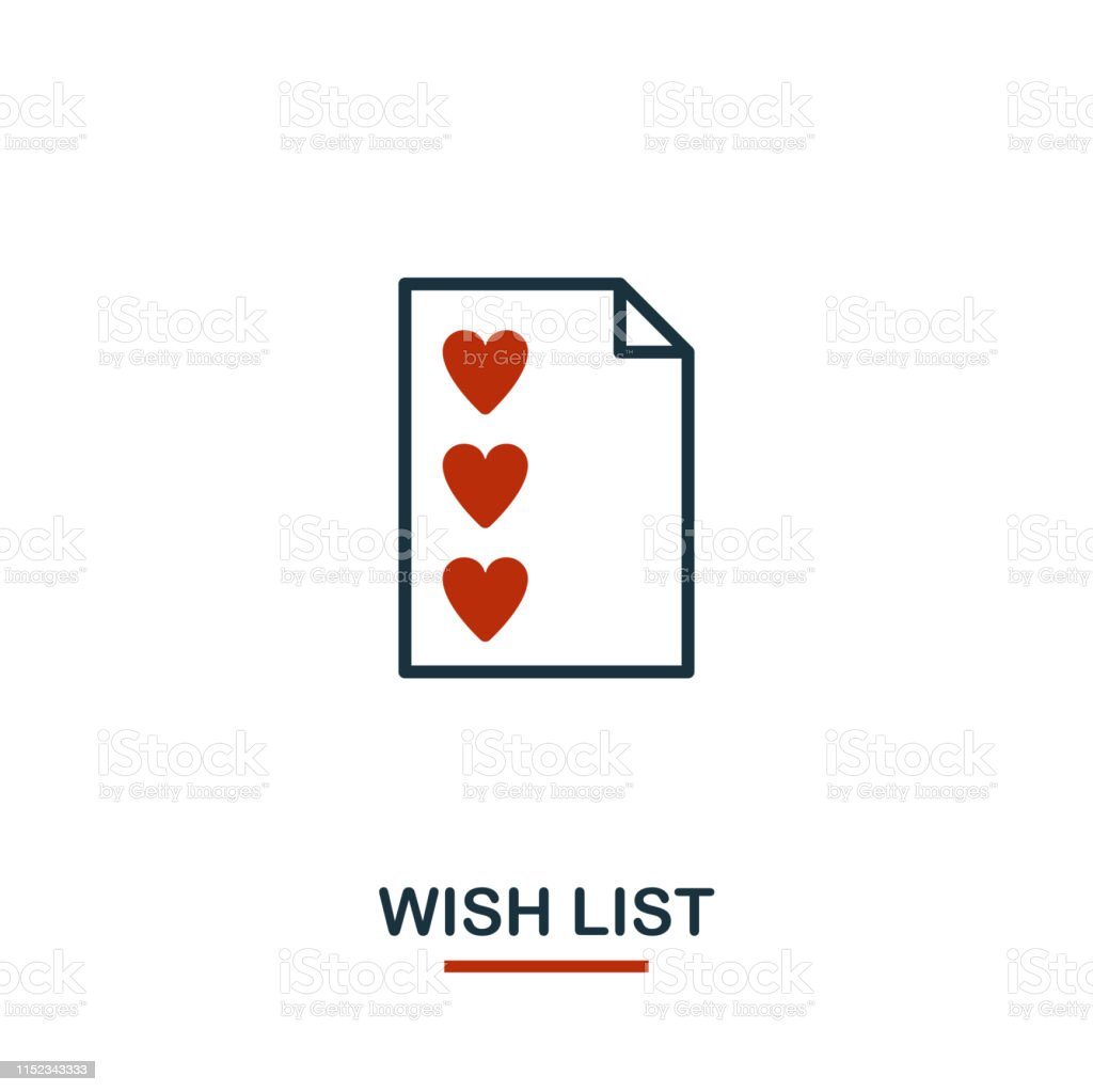 Wish List icon in two colors. Creative black and red design from...