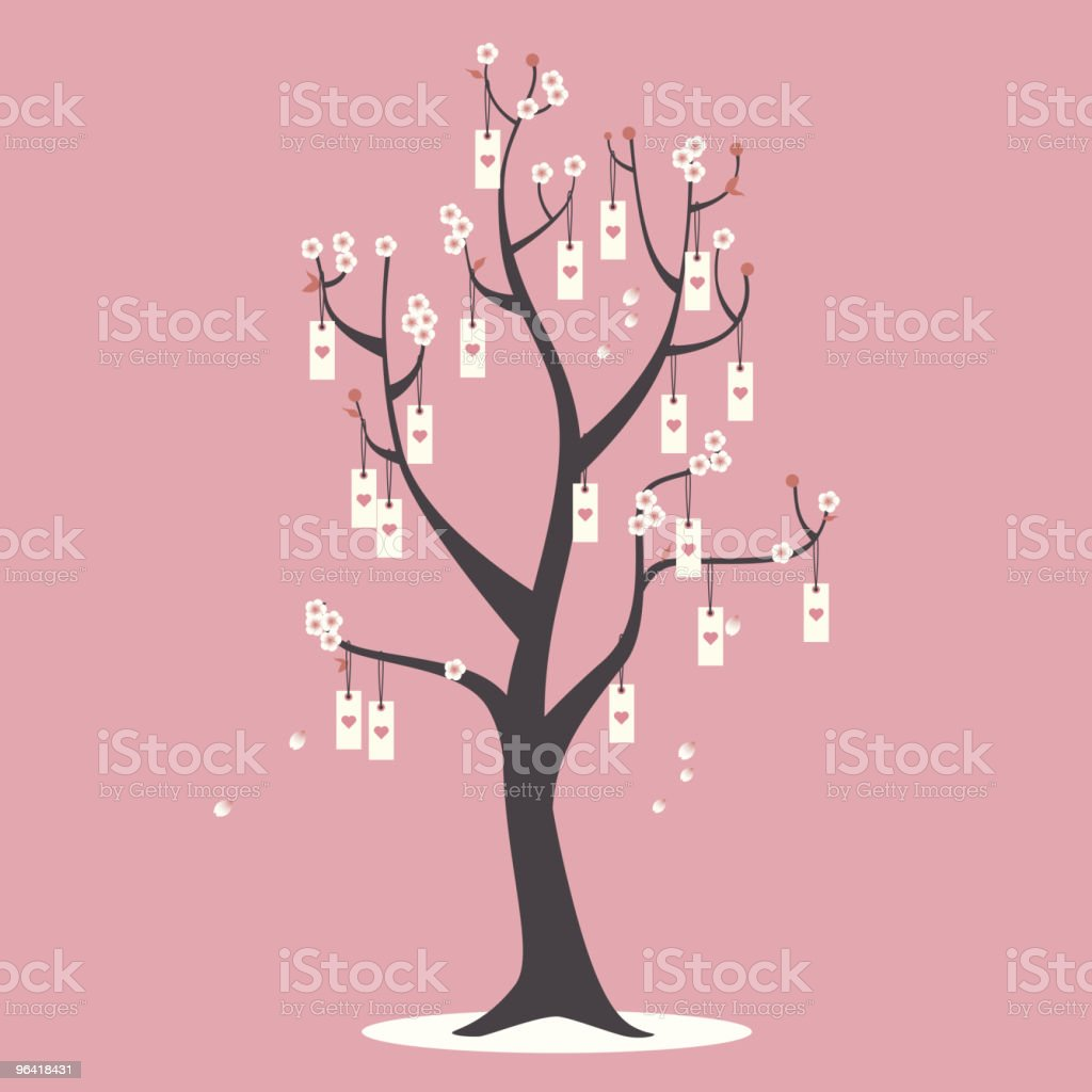 I wish you love: cherry blossom tree vector art illustration