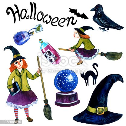 istock Witch collection - set of elements for Halloween. Witch, flying witch on a broom, hat, magic potion, black cat, crow, lettering Halloween. Watercolor isolated elements on white background. 1272988169