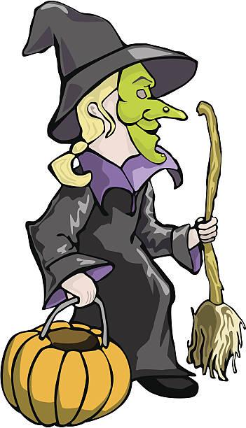Witch Halloween Costume child vector art illustration