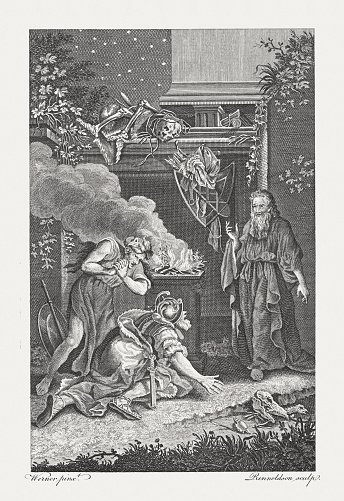 Witch of Endor raising the apparition of Samuel, published 1774