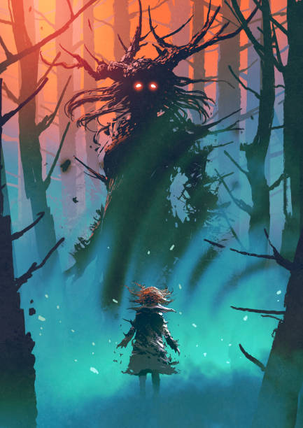 witch of the black woods little girl and the witch looking each other in a forest, digital art style, illustration painting fantasy stock illustrations