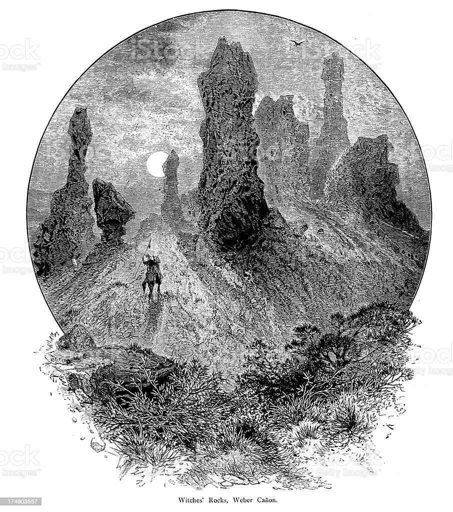 Witch Rocks, Weber Canyon, Utah royalty-free stock vector art
