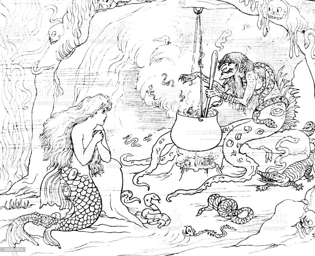 Cena de bruxa da pequena sereia de Andersen - ilustração de arte em vetor