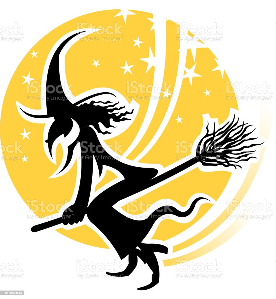 witch silhouette label royalty-free witch silhouette label stock vector art & more images of activity