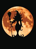 Witch silhouetted against a full moon