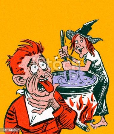 Witch Stirring Brew Poisoning Man
