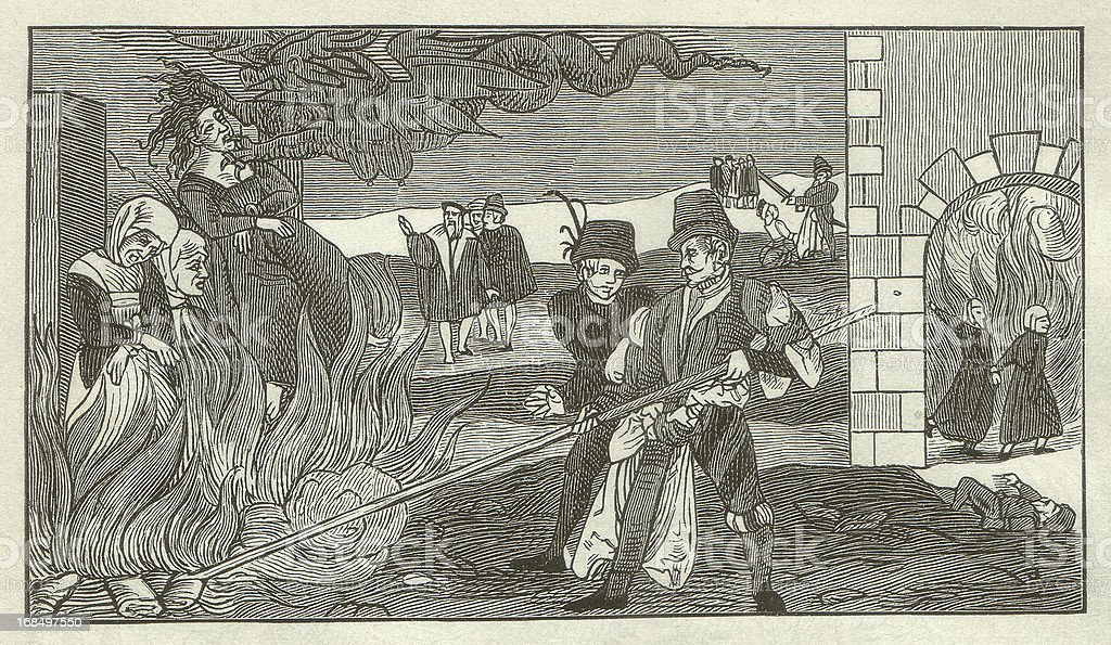 Witch-burning in the County of Regenstein, 1550 royalty-free stock vector art