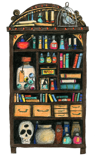 Witches cupboard with ancient books, potions, scrolls, owl and skull.