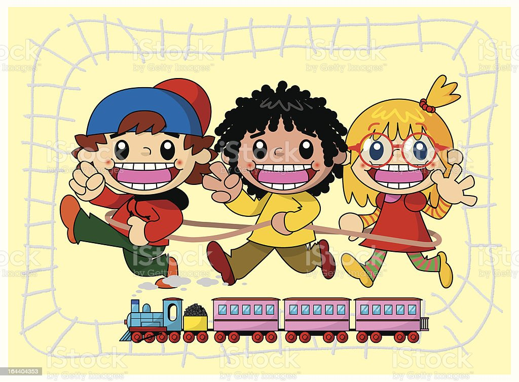 With a train kid, it is rock, paper, scissors royalty-free stock vector art