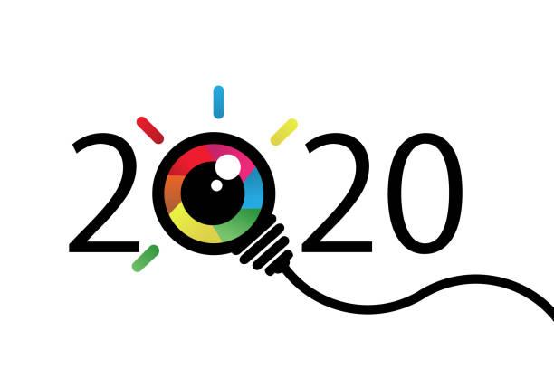 stockillustraties, clipart, cartoons en iconen met 2020 met kleurrijke eye bulb teken. visie en idee - zagen