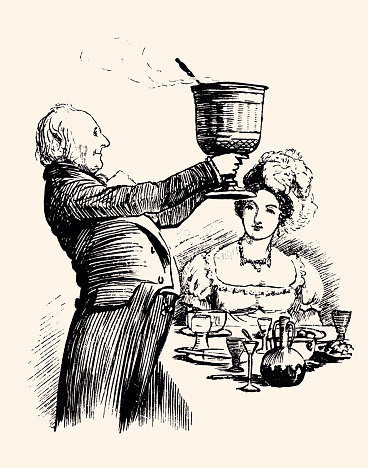 WAITER SERVING DINER . Vintage engraving circa late 19th century