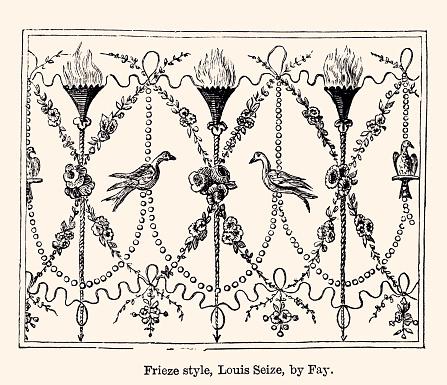 FRIEZE STYLE LOUIS XVI : DESIGN ELEMENT      -XXXL with lots of details-