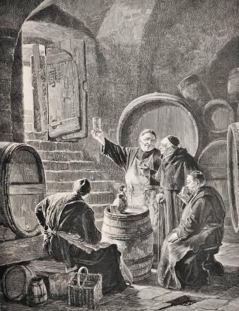 ilustraciones, imágenes clip art, dibujos animados e iconos de stock de con los monjes en la bodega - ilustración de 1894 - hermano