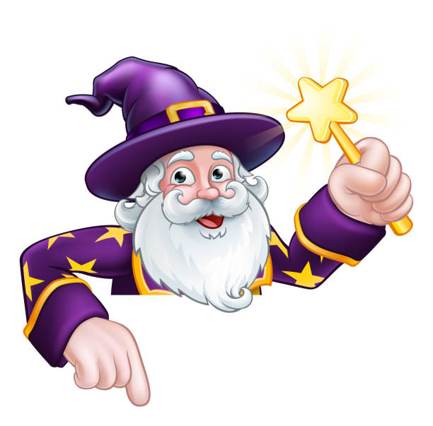 wizard cartoon character ponting down over sign - old man long beard silhouettes stock illustrations, clip art, cartoons, & icons