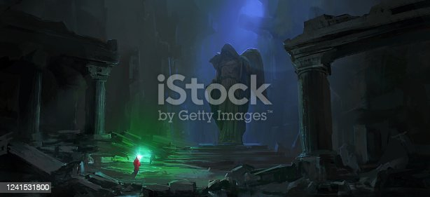 istock Wizard in the dark dungeon, digital painting. 1241531800