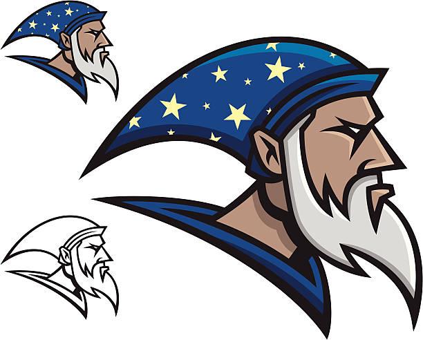 wizard mascot - old man hat stock illustrations, clip art, cartoons, & icons